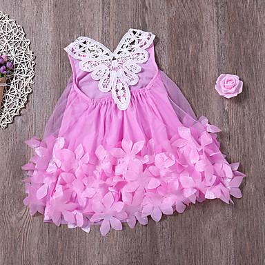 baratos Vestidos para Meninas-Bébé Para Meninas Activo Moda de Rua Diário Praia Sólido Renda Com Transparência Sem Manga Médio Vestido Rosa / Algodão