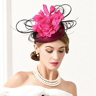 abordables Coiffes-Lin / Plume Kentucky Derby Hat / Coiffure avec Plume / Fleur 1pc Mariage / Fête / Soirée Casque