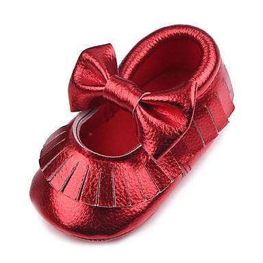 voordelige Babyschoenentjes-Meisjes Comfortabel / Eerste schoentjes / Wiegschoenen Kunstleer Platte schoenen Peuter (9m-4ys) Kwastje Goud / Wit / Rood Herfst / Bruiloft / Bruiloft