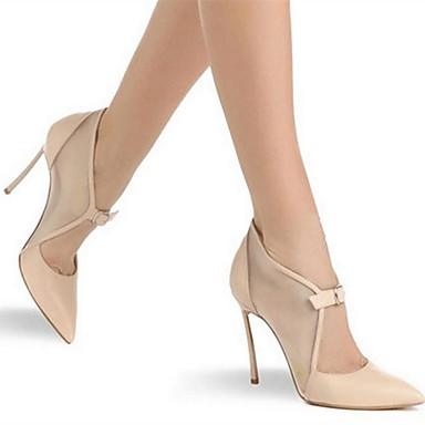 Noir Chaussures Bout Microfibre Femme pointu 06698725 été Chaussures Talon Aiguille à Tulle Basique Printemps Amande Boucle Escarpin Talons 77FZ0w