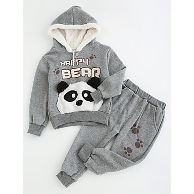 685d63f4aa72f Toddler Unisex Cartoon Daily Going out Solid Colored Print Long Sleeve  Regular Regular Cotton Polyester Clothing Set Gray