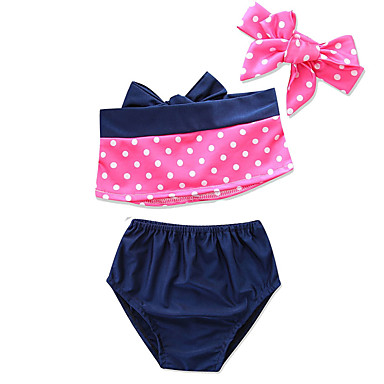 cheap Girls' Swimwear-Kids Toddler Newborn Girls' Sophisticated Going out Beach Solid Colored Polka Dot Color Block Sleeveless Cotton Swimwear Navy Blue
