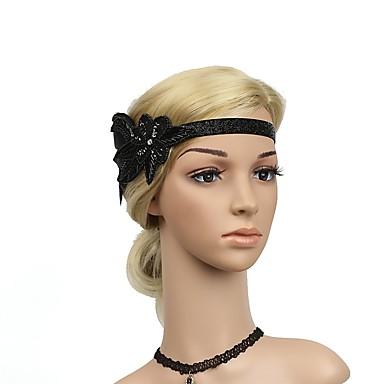 The Great Gatsby Vintage 1920s Roaring Twenties Costume Women s Flapper  Headband Headwear Black   Golden Vintage 776a872e44d