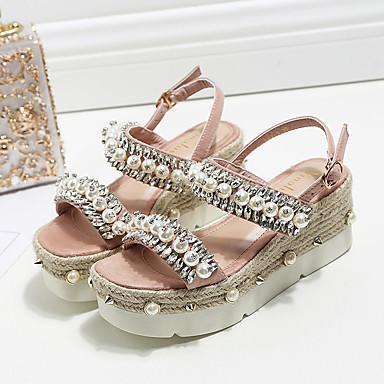 Confort Brillante Chaussures Femme Polyuréthane Evénement Creepers Sandales Bout Paillette 06757055 Eté Rose amp; Soirée Noir Perle ouvert qSvqBt