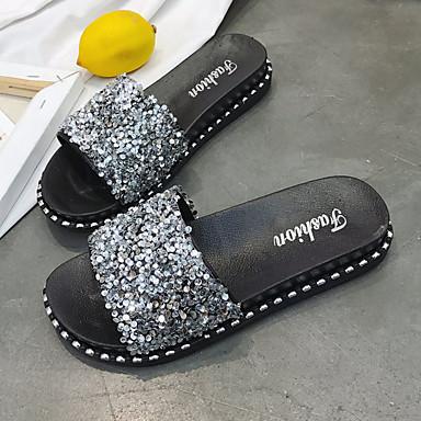 flops Tacón Dedo flip Plata 06764704 Plano Verano Confort PU y Zapatillas Negro redondo Zapatos Mujer 8g0xaq