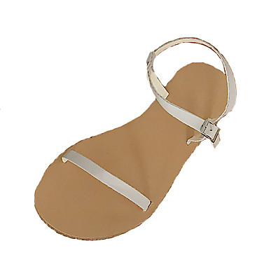 Pentru femei Pantofi PU Vară Pantof cu Berete Sandale Toc Drept Alb / Negru