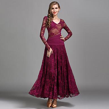 ecf0784ac846 Ballroom Dance Dresses Women's Performance Lace / Tulle / Milk Fiber Ruching  / Split Joint Long
