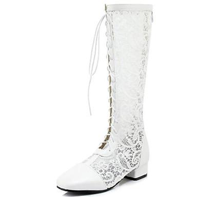 Pentru femei Pantofi Tul / PU Primavara vara Cizme la Modă Sandale Blocați călcâiul Vârf ascuțit Cizme înalte Legătură Panglică Alb /