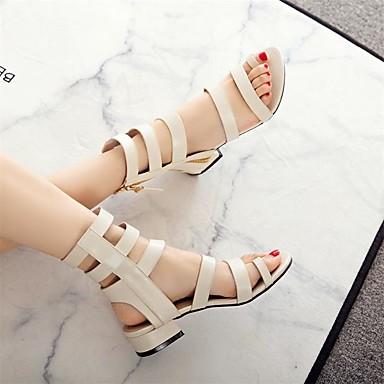 06727024 Talon Chaussures Sandales Femme Noir Polyuréthane Bas Gladiateur été Printemps Beige FBZBvSwqp