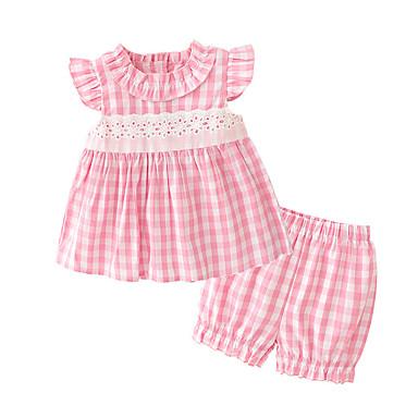 رخيصةأون ملابس الرضع-مجموعة ملابس قطن بدون كم طباعة الرياضة رياضي Active للفتيات طفل