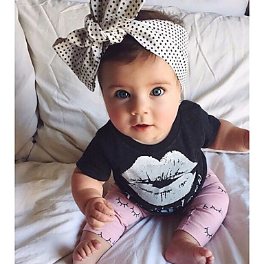 Bebelus Fete De Bază Geometric Imprimeu Manșon scurt Bumbac Set Îmbrăcăminte