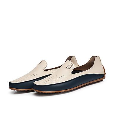 בגדי ריקוד גברים נעליים פורמליות דמוי עור אביב קיץ / סתיו חורף עסקים / יום יומי נעליים ללא שרוכים נושם בז' / כחול