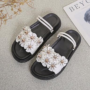 Dedo Negro de Mujer Verano Blanco Tacón Satén redondo PU Rosa Flor 06728914 Zapatos Sandalias Plano Confort OBqUw0O