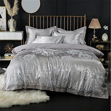Duvet Cover Sets Luxury 100% Cotton / Silk / Cotton Blend / Cotton Jacquard Printed & Jacquard 4 PieceBedding Sets / 300 / 4pcs (1 Duvet Cover, 1 Flat Sheet, 2 Shams)