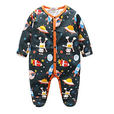 billige Babytøj Drenge Drenge-Baby Drenge Aktiv Trykt mønster Langærmet En del Navyblå