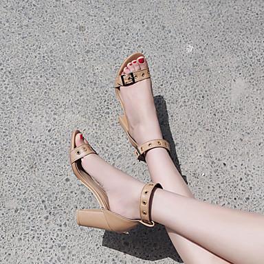 abierta Almendra Verano PU Mujer Cuadrado el Puntera 06751615 Tobillo en Tira Marrón Sandalias Negro Tacón Zapatos Claro HgxqOP
