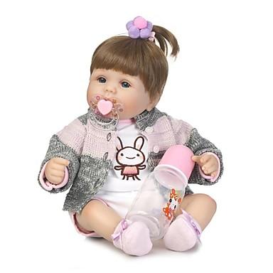 NPKCOLLECTION NPK-PUPPE Lebensechte Puppe Mädchen Puppe Baby Mädchen 18 Zoll Vinyl - Neugeborenes lebensecht Künstliche Implantation Blaue Augen Kinder Mädchen Spielzeuge Geschenk