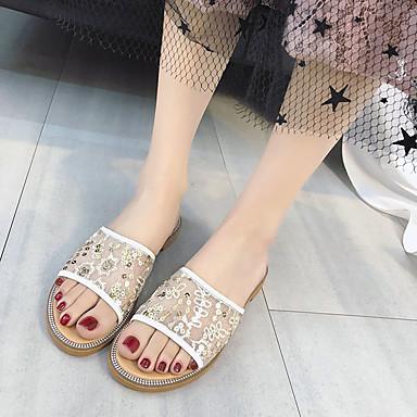 Blanco Negro Confort Dedo flops PU 06766125 Tacón flip redondo Mujer Zapatillas Dorado Plano Verano Zapatos y qnC6xAtROw