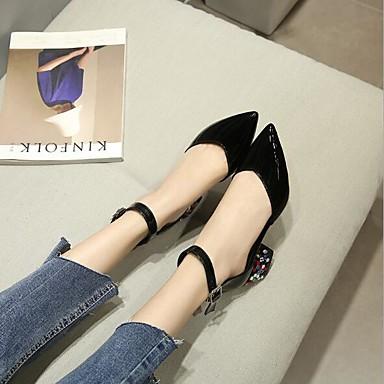 Bottier Chaussures Femme Talons Blanc Cuir Noir Eté Boucle pointu Rouge Nouveauté Bout Talon Chaussures 06753655 Faux à U1zwdq1