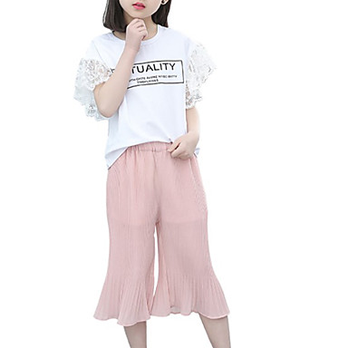 Copii Fete Activ / Șic Stradă Ieșire Imprimeu Imprimeu Manșon scurt Bumbac Set Îmbrăcăminte