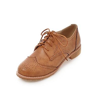 de 06732846 Oxfords redondo Amarillo Mujer Gris Negro Primavera verano Zapatos bloque Talón Dedo PU Confort x66wqvZn0X