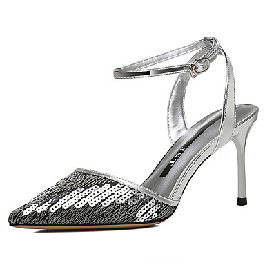 88dbc7e9c08 Women s Patent Leather Fall   Winter Basic Pump   Ankle Strap Heels  Stiletto Heel Pointed Toe Rhinestone Black   Silver   Party   Evening    Daily   Party ...