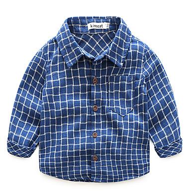 Bambino Da Ragazzo Essenziale Quotidiano A Quadri Manica Lunga Standard Cotone Camicia Blu Marino - Bambino (1-4 Anni) #06748897