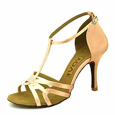 2d459fa725f4 Women s Latin Shoes   Ballroom Shoes Satin Sandal   Heel Rhinestone    Buckle Customizable Dance Shoes