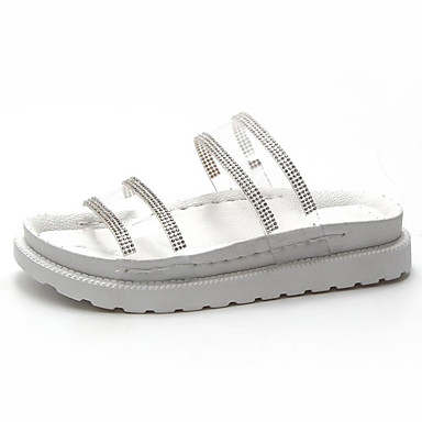 Pentru femei Pantofi PU Vară Confortabili Papuci & Flip-flops Toc Drept Vârf rotund Piatră Semiprețioasă Alb / Negru