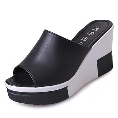 Pentru femei PU Vară Pantof cu Berete Sandale Toc Platformă Alb / Negru / Nuntă / Party & Seară / Party & Seară