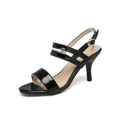Pentru femei Pantofi Imitație Piele Primavara vara Pantofi pe Gleznă Sandale Toc Stilat Pantofi vârf deschis Alb / Negru / Roz Deschis