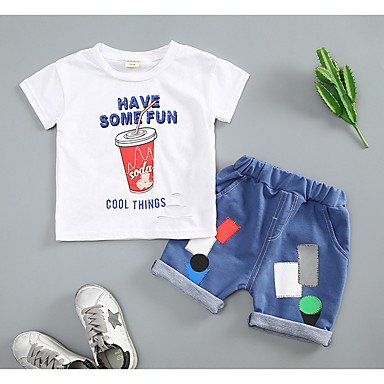 Bebelus Băieți Activ / De Bază Sport Geometric Manșon scurt Bumbac Set Îmbrăcăminte / Copil