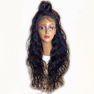Păr Remy Față din Dantelă Perucă Păr Malayezian Ondulat Perucă Frizură în Straturi 130% Densitatea părului cu păr de păr Linia naturală de păr pentru Femei de Culoare Negru Pentru femei Scurt Lung