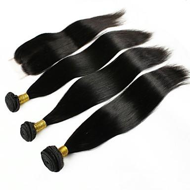 baratos Extensões de Cabelo Natural-3 pacotes com fechamento Cabelo Peruviano Liso 8A Cabelo Humano Um Pacote de Solução 8-22 polegada Côr Natural Tramas de cabelo humano extensão Extensões de cabelo humano Mulheres