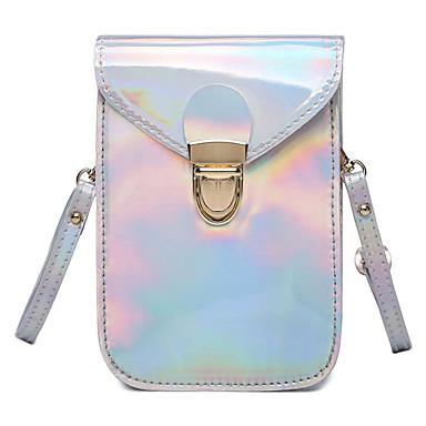 Pentru femei Genți PU Umăr Bag Buton Argintiu