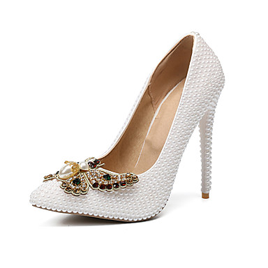 Women s Shoes PU(Polyurethane) Fall   Winter Basic Pump Wedding Shoes  Stiletto Heel Pointed Toe Rhinestone   Bowknot   Pearl White   Party    Evening 392be7769f28