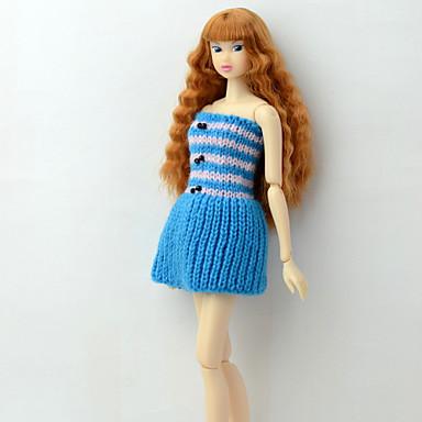 voordelige Poppenaccessoires-Poppenjurk Jurken Voor Barbie Lijnen / golven Multi Kleur Blauw Vlechtwerk Polyesteri Acryl Vezels Kleding Voor voor meisjes Speelgoedpop