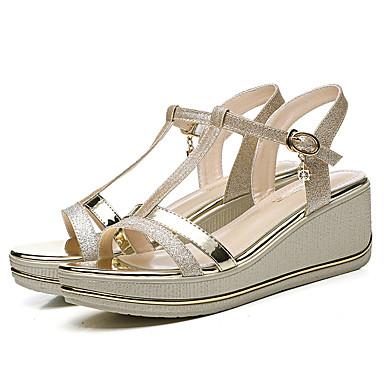 06751748 été Hauteur Confort Cuir Printemps semelle Or Chaussures Sandales amp; Femme Evénement Verni Soirée Noir Basique compensée Escarpin de xnIBqwU