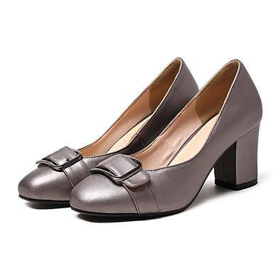 Women's Shoes Synthetics Spring Comfort Toe Heels Chunky Heel Open Toe Comfort Black / Silver / Khaki dc8478