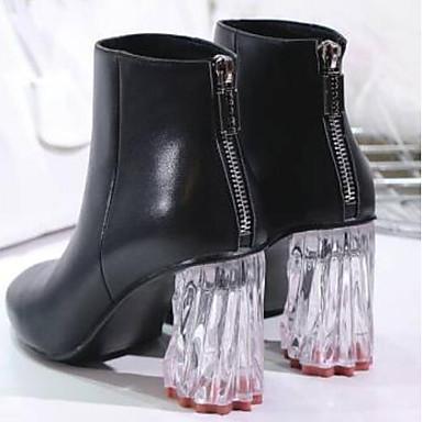 06770897 Talon Bout Demi la Femme Bottes Bottine Botte Nappa Mode à Cuir Chaussures fermé Noir Chaussures hiver Automne à Talons translucide B67Rxfq