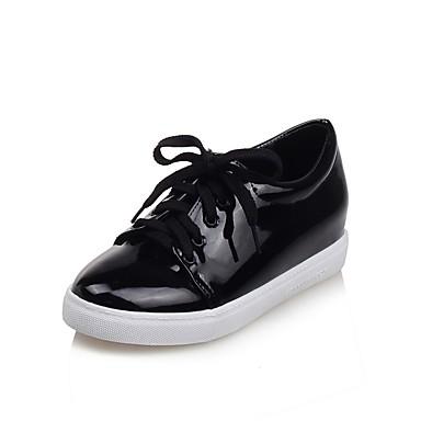 Unisex Pantofi PU Primavara vara Confortabili Adidași Toc Drept Vârf rotund Alb / Negru