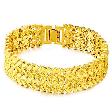 voordelige Herensieraden-Heren Armbanden met ketting en sluiting Dikke ketting Bladvorm Luxe Vintage Modieus Koper Armband sieraden Goud Voor Dagelijks Feestdagen