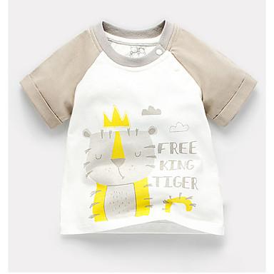 זול חולצות לתינוקות לבנים-טישירט כותנה שרוולים קצרים טלאים דפוס בסיסי בנים תִינוֹק / פעוטות
