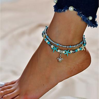 billige Kropssmykker-Dame Turkis Ankel føtter smykker Skilpadde Billig Dobbelt Lagdelt Ankel Smykker Sølv Til Ut på byen Bikini