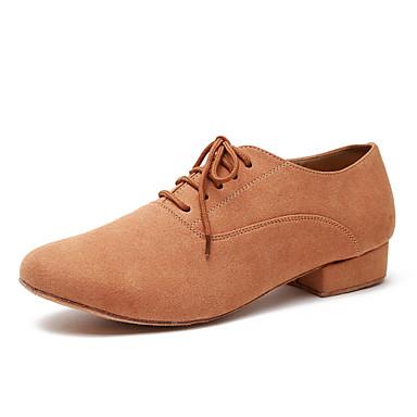 baratos Shall We® Sapatos de Dança-Homens Sapatos de Dança Microfibra Sapatos de Dança Moderna Rendado Têni Salto Grosso Verde Tropa / Camel / EU41