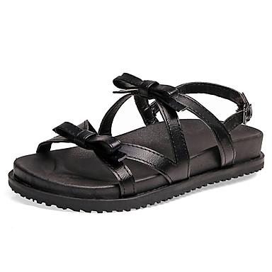 Pentru femei Pantofi PU Vară Confortabili Sandale Toc Drept Vârf rotund Funde Negru / Roșu Vin