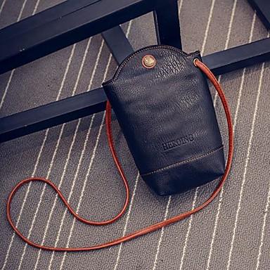 Pentru femei Genți PU Umăr Bag Buton Negru / Portocaliu / Roșu-aprins