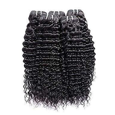 6 pachete Păr Peruvian Buclat Păr Natural Umane tesaturi de par / Extensii din Păr Natural 8-28 inch Culoare naturală Umane Țesăturile de par Fără calotă Design Modern / Cea mai buna calitate / cald