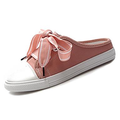 Pentru femei Pantofi Pânză / PU Vară Pantof cu Berete Saboți Toc Drept Vârf rotund Funde Alb / Negru / Roz