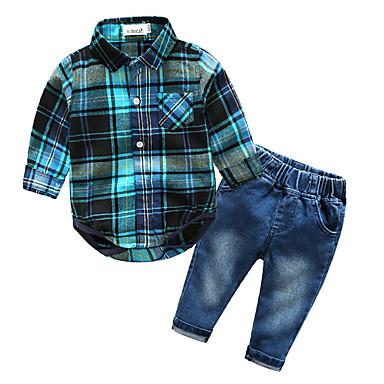 Bebelus Băieți De Bază Zilnic Plisat Imprimeu Manșon Lung Regular Bumbac Set Îmbrăcăminte Albastru piscină 80 / Copil